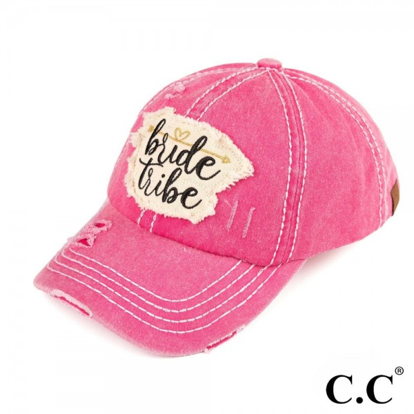 C.C BA-2019 Bride tribe embroidered vintage washed baseball cap. 100% cotton. One size fits most.