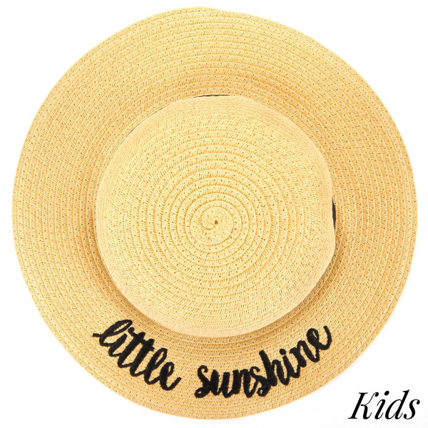 CC- ST-2017KIDS- Little sunshine embroidered brim hat. 100% paper. One size.