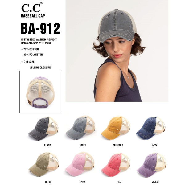 C.C. BA-912. Vintage, distressed baseball cap with mesh back.  - One size fits most  - Adjustable velcro closure  - Composition: 100% Cotton