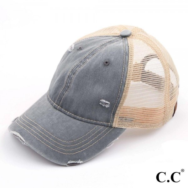 C.C. BA-912 Vintage Distressed Baseball Cap with Mesh Back  - One size fits most - Adjustable velcro closure - 100% Cotton
