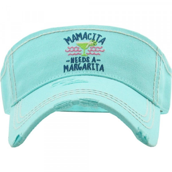 "Vintage, distressed visor featuring ""Mamacita Needs A Margarita"" embroidered detail.  - 100% Cotton - Adjustable velcro closure - One size fits most"