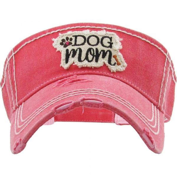 Wholesale vintage distressed visor Dog Mom embroidered detail Cotton Adjustable