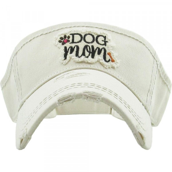 Wholesale vintage distressed visor Dog Mom embroidered detail Cotton Adjustable