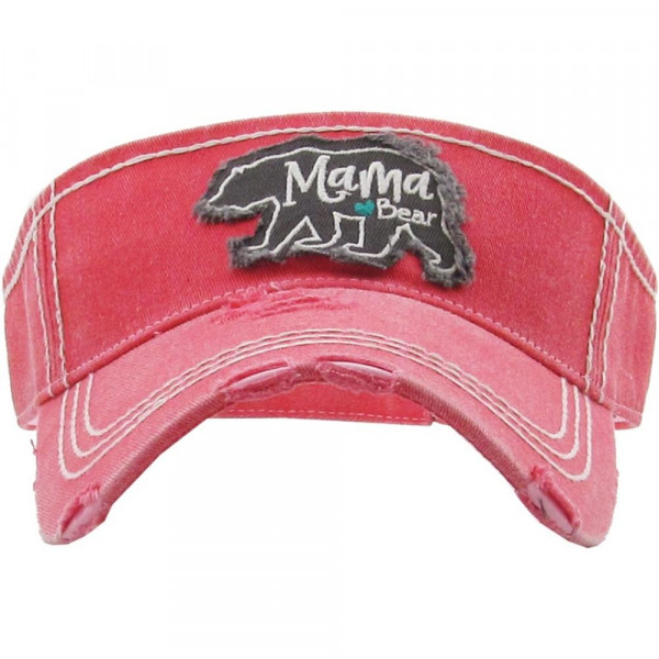 "Vintage, distressed visor featuring ""Mama Bear"" embroidered detail.  - 100% Cotton - Adjustable velcro closure - One size fits most"