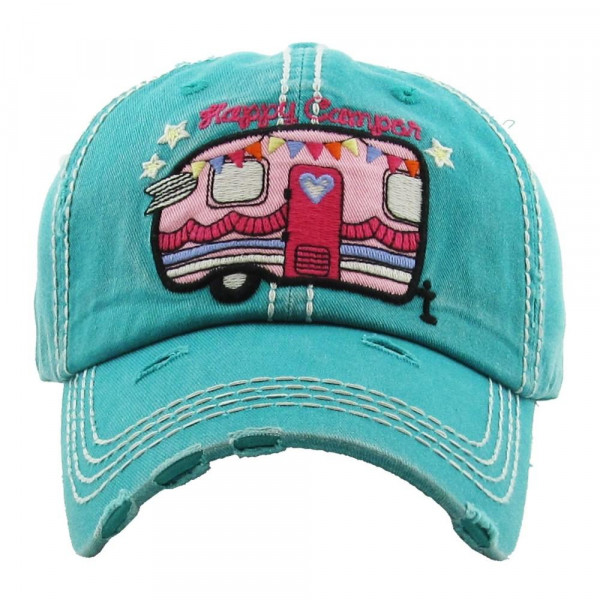 Wholesale vintage distressed baseball cap Happy Camper embroidered detail Cotton