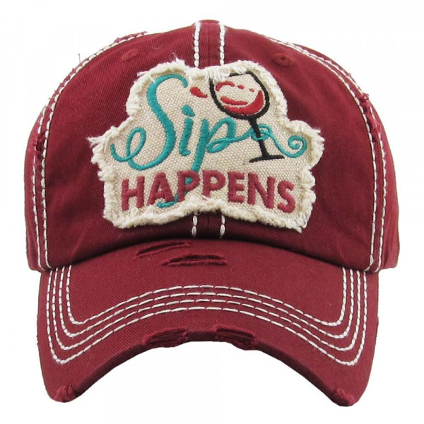 Wholesale vintage distressed baseball cap Sip Happens embroidered detail Cotton