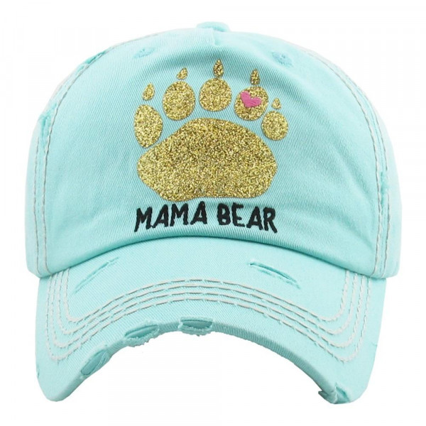 Vintage, distressed baseball cap featuring a gold glitter vinyl bear paw-print and mama bear embroidered detail.  - 100% Cotton - Adjustable velcro closure - One size fits most