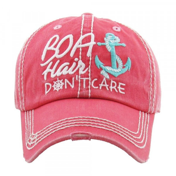 """""""Boat Hair Don't Care"""" Embroidered Vintage Style Baseball Cap.  - 100% cotton  - Adjustable Velcro Closure - One size fits most"""