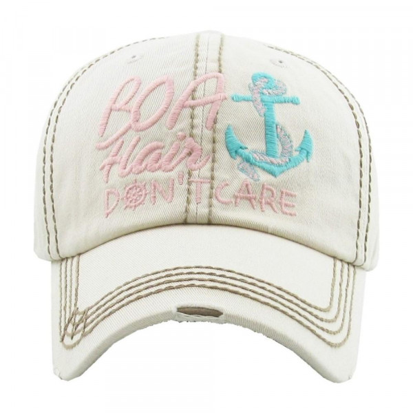 """Boat Hair Don't Care"" Embroidered Vintage Style Baseball Cap.  - 100% cotton  - Adjustable Velcro Closure - One size fits most"