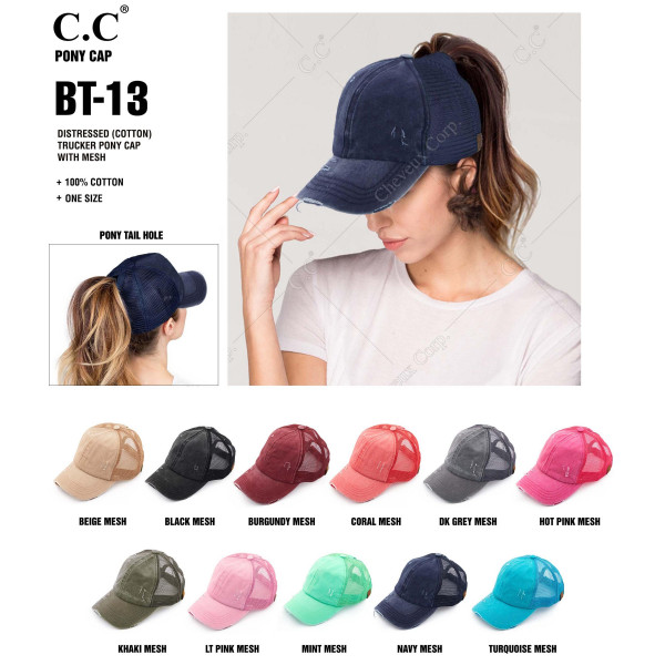 C.C BT-13 Vintage, distressed cotton trucker pony cap with mesh back  - 100% Cotton - Adjustable velcro closure - One size fits most