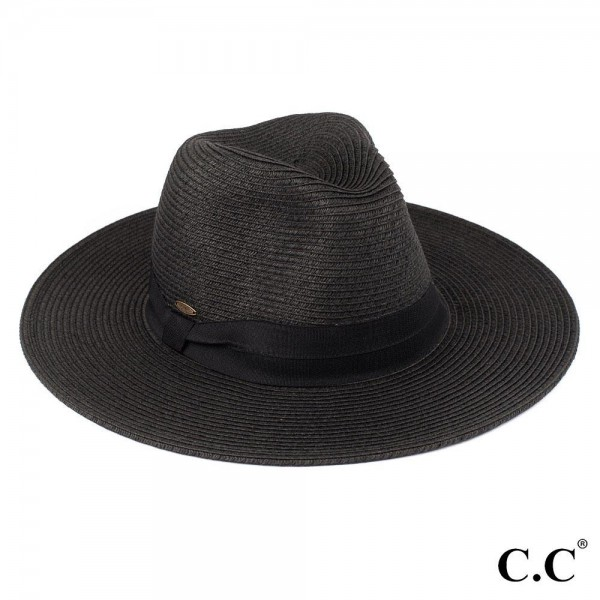 "C.C ST-02 (Black) Wide brim sun hat with solid ribbon    - One size fits most - Brim width 3.5"" - 80% Paper 20% Polyester"
