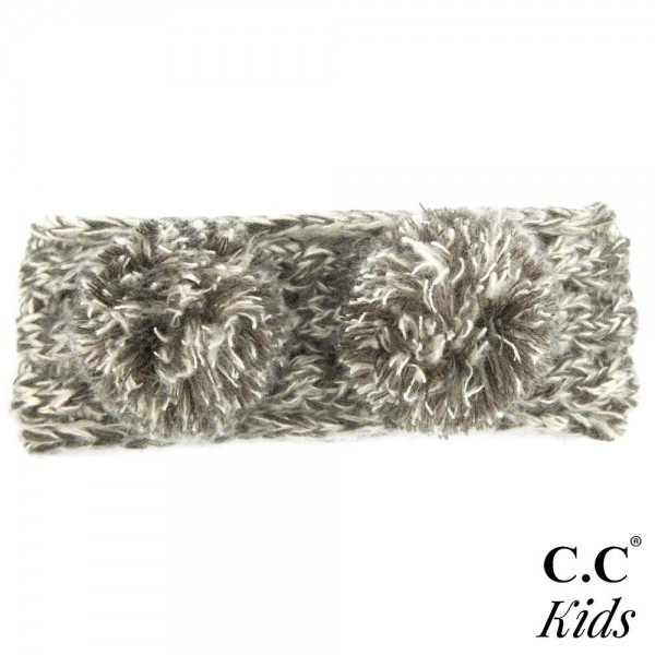 "C.C HW-23-KIDS Two tone double pom kids headwrap with fuzzy lining  - 100% Acrylic - Band circumference is approximately:  18"" unstretched  20"" stretched - Approximately 3.5"" tall - Fit varies based on child's head height and shape"