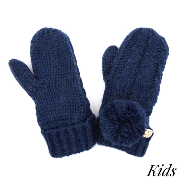C.C MT-24-KIDS Kids Cable Knit Pom Mitten   - 100% Acrylic - One size fits most
