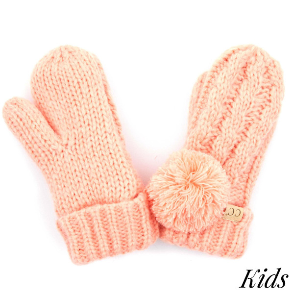 Wholesale c C MT KIDS Kids Cable Knit Pom Mitten Acrylic One fits most