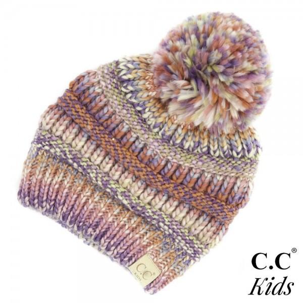 C.C KIDS-705 POM Kids Multicolor Knit Pom Beanie  - One size fits most Kids - 100% Acrylic