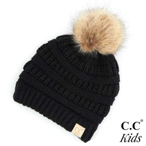 Wholesale c C KIDS Kids Ribbed Knit Faux Fur Pom Beanie Acrylic Band circumferen