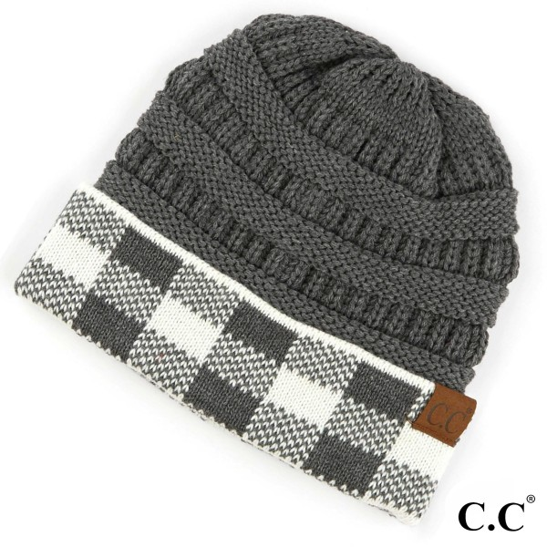 C.C HAT-82  Buffalo check pattern cuff beanie  - 100% Acrylic - One size fits most - Matches C.C MT-82