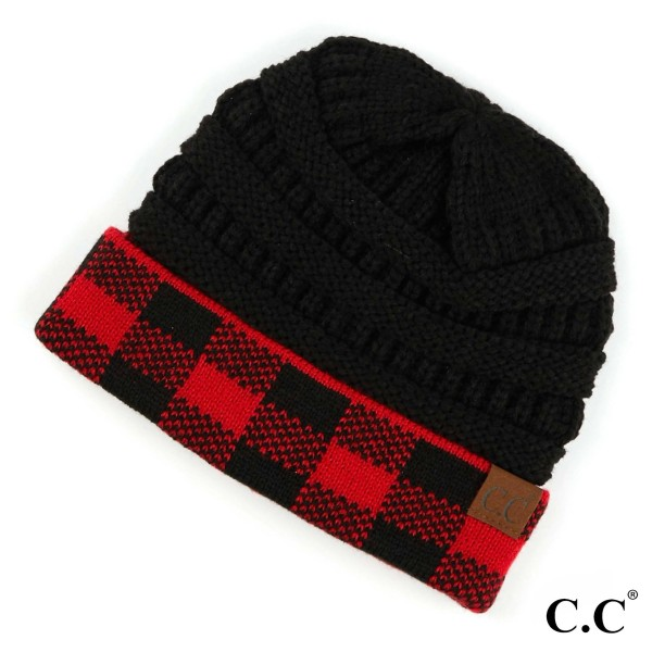 C.C HAT-82  Buffalo Check Cuff Beanie.  - 100% Acrylic - One size fits most - Matches C.C MT-82
