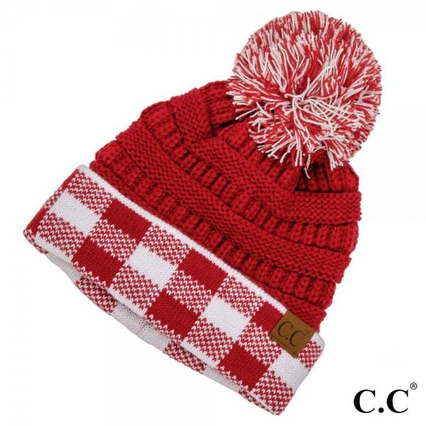 C.C HAT-92 Ribbed knit two tone game day pom beanie   - One size fits most  - 100% Acrylic