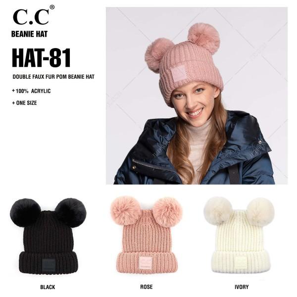 C.C HAT-81 Double faux fur pom beanie  - One size fits most - 100% Acrylic