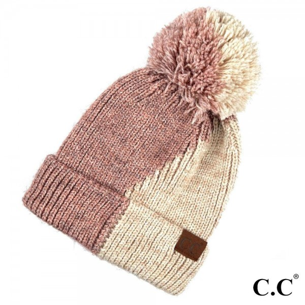 C.C HAT-2213 Dual color knit beanie with pom  - One size fits most - 100% Acrylic