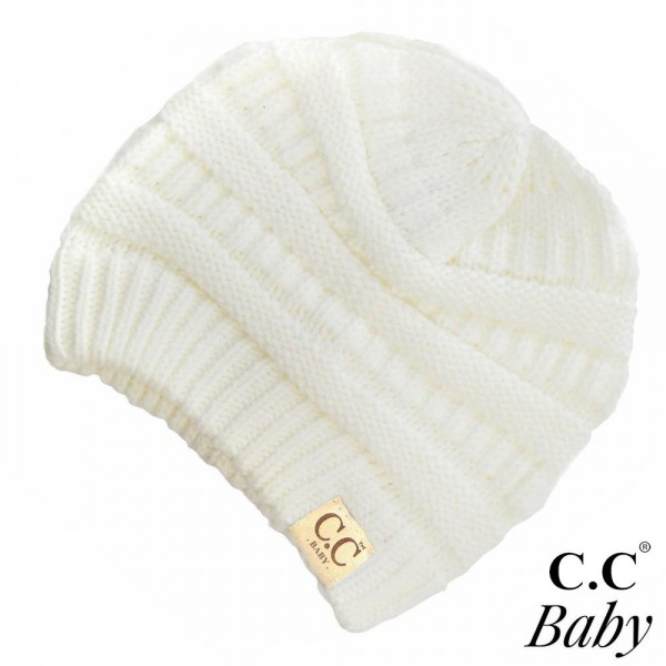 """C.C Baby-847 Solid knit beanie for baby  - 100% Acrylic - Band circumference is approximately:  9"""" unstretched  16"""" stretched - Approximately 6.5"""" long from crown to band - Fit varies based on child's head height and shape"""