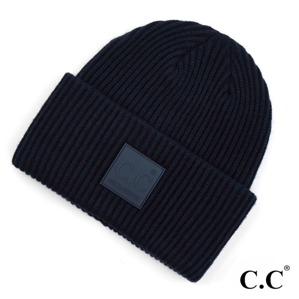Wholesale c C HAT Solid Ribbed Knit Cuff Beanie C C Rubber Patch Viscose Polyest