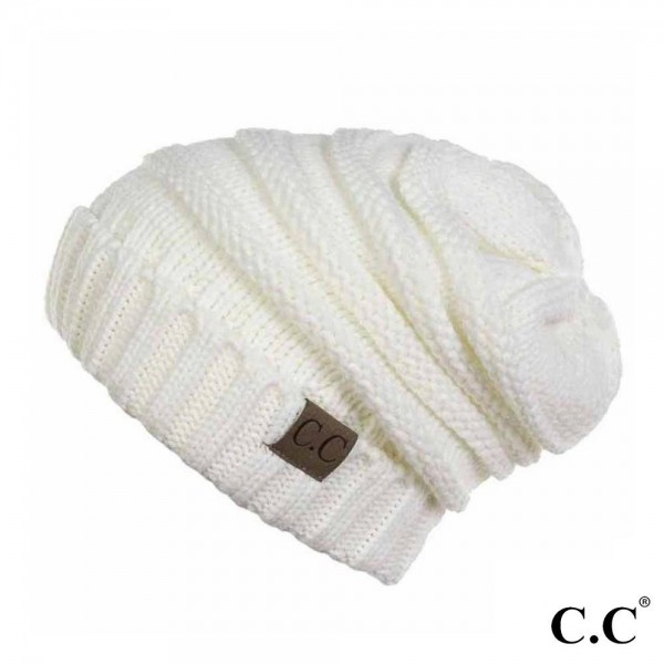 Wholesale c C HAT Ribbed Knit Slouchy Beanie One fits most Acrylic