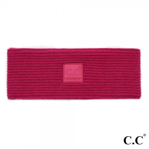 C.C HW-7007 Ribbed Knit Headwrap with C.C Rubber Patch  - One size fits most - 50% Viscose, 30% Polyester, 20% Nylon