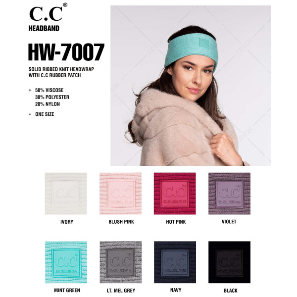 C.C HW-7007 Solid ribbed knit headwrap with C.C rubber patch  - 50% Viscose, 30% Polyester, 20% Nylon - One size fits most