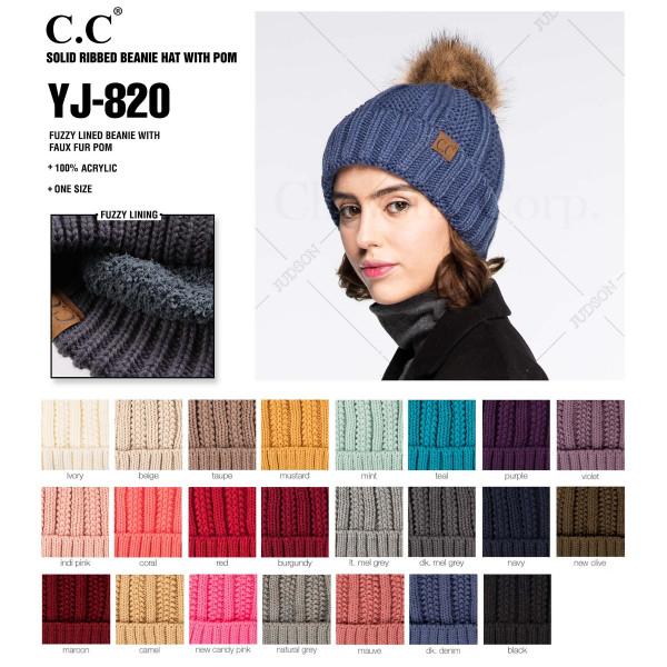 C.C YJ-820  Fuzzy Lined Knit Faux Fur Pom Beanie.  - One size fits most - 100% Acrylic