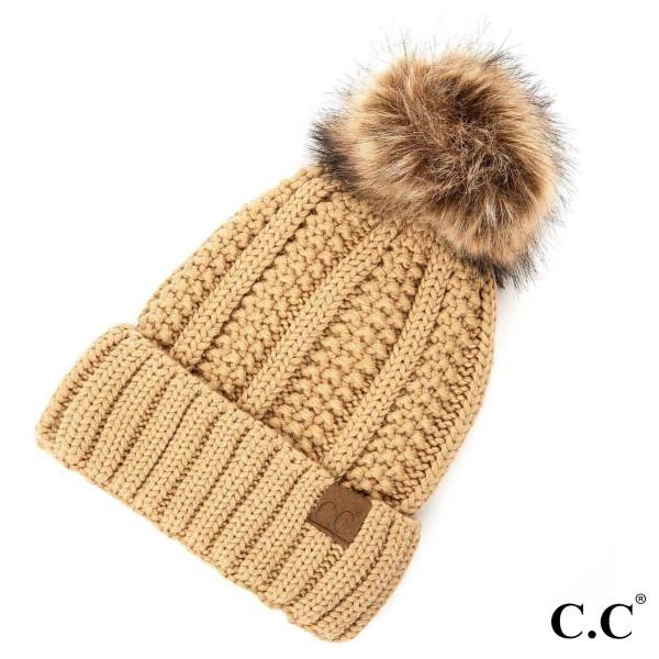 Wholesale c C YJ Fuzzy Lined Knit Faux Fur Pom Beanie One fits most Acrylic