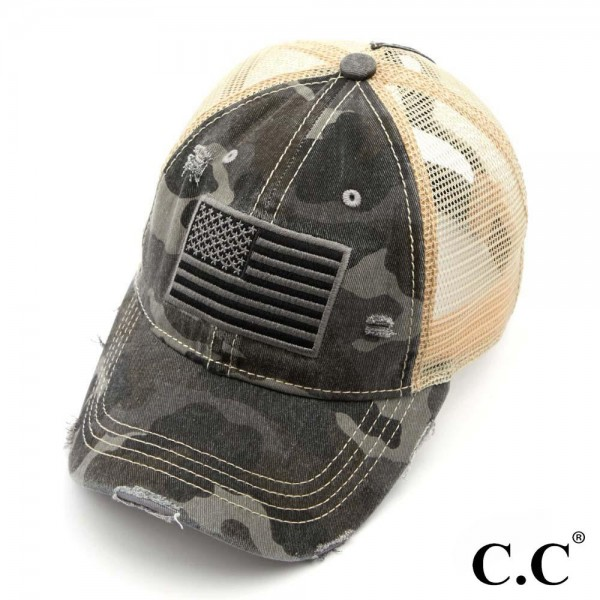 C.C BT-18 American Flag Camouflage Distressed Ponytail Cap with Mesh Back  - One size fits most - Adjustable Velcro Closure - 70% Cotton / 30% Polyester