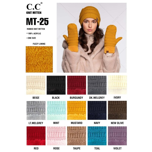 C.C MT-25 Ribbed knit mitten with fleece cuff  - 100% Acrylic - One size fits most