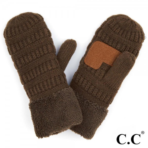 Wholesale c C MT Ribbed Knit Fleece Cuff Mittens Acrylic One fits most