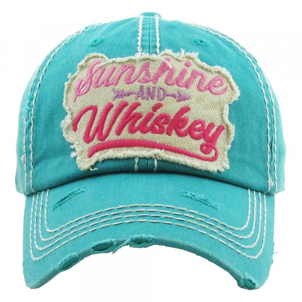 Wholesale sunshine Whiskey Embroidered Distressed Vintage Baseball Cap Cotton A