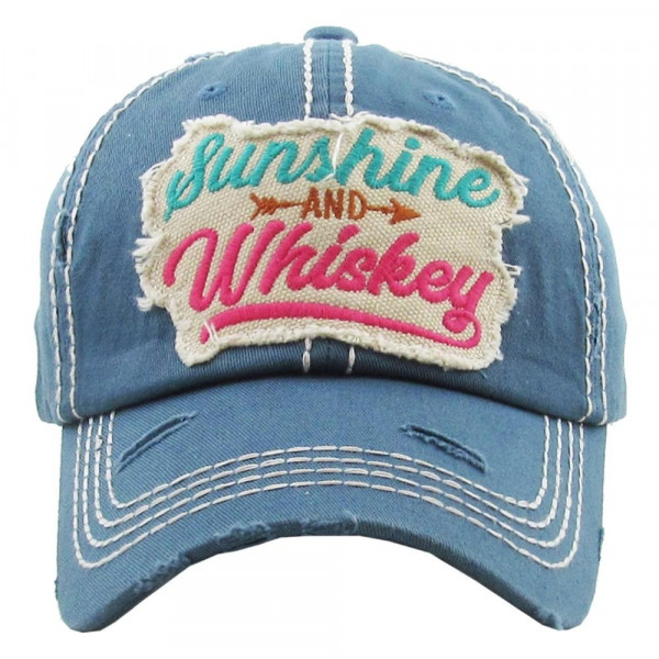 """""""Sunshine & Whiskey"""" Embroidered Distressed Vintage Style Baseball Cap.  - 100% Cotton - Adjustable Velcro Closure - One size fits most"""
