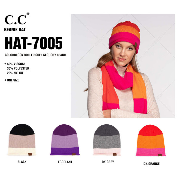 C.C HAT-7005 Color block rolled cuff slouchy beanie  - 50% Viscose, 30% Polyester, 20% Nylon - One size fits most