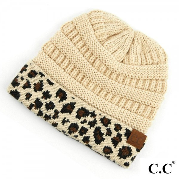Wholesale c C HAT Leopard Print Cuff Knit Beanie Acrylic One fits most Matches C