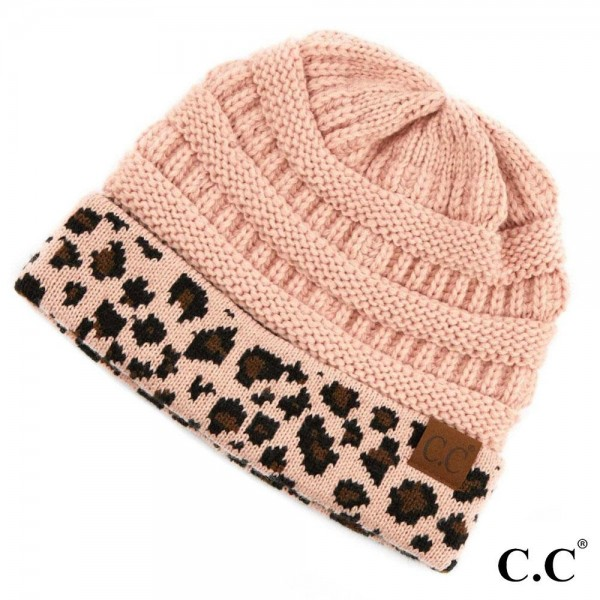 C.C HAT-80 Leopard Print Cuff Knit Beanie  - 100% Acrylic - One size fits most - Matches C.C SF-80, HW-80 and G-80