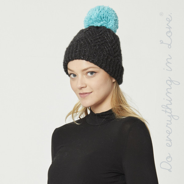 Do everything in Love Brand Chevron Knit Pom Beanie.  - One size fits most Adults - 68% Acrylic, 32% Polyester