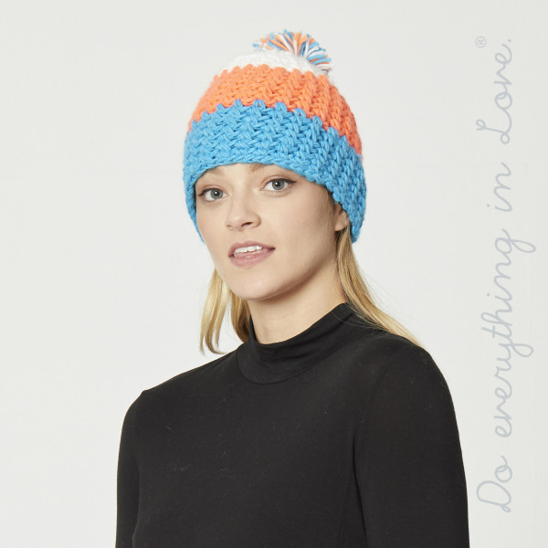 Do everything in Love brand color block knitted pom beanie.  - One size fits most adults - 100% Acrylic