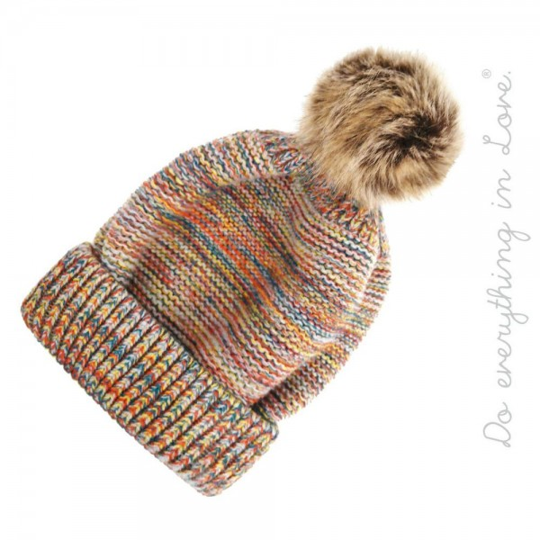 Do everything in Love Brand Multicolor Melange Knit Pom Beanie.   - One size fits most adults - 100% Acrylic