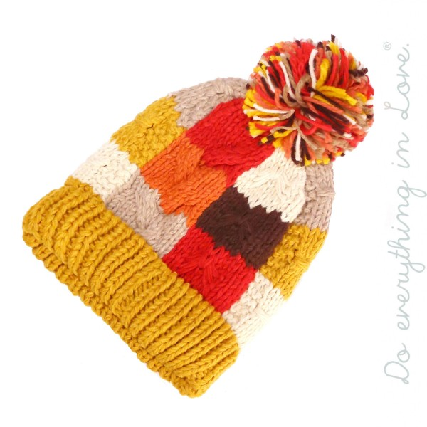 Do everything in Love Chunky Knit Color Block Pom Beanie.  - One size fits most  - 100% Acrylic