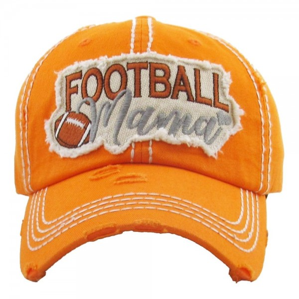"""Vintage, distressed baseball cap featuring """"Football Mama"""" embroidered detail.  - One size fits most  - Adjustable velcro closure - 100% Cotton"""