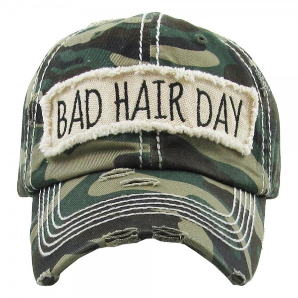 "Vintage Distressed ""Bad Hair Day"" Embroidered Baseball Cap.  - One size fits most  - Adjustable velcro closure - 100% Cotton"