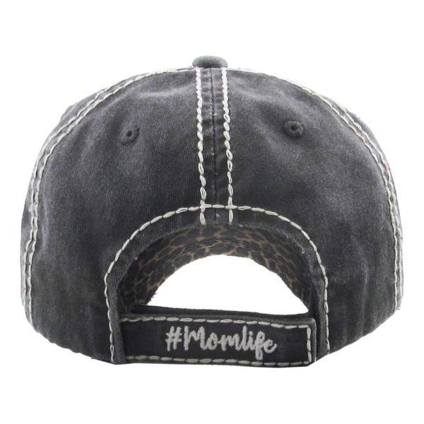 Vintage Distressed Leopard Print #Momlife Baseball Cap.  - One size fits most  - Adjustable velcro closure - 100% Cotton