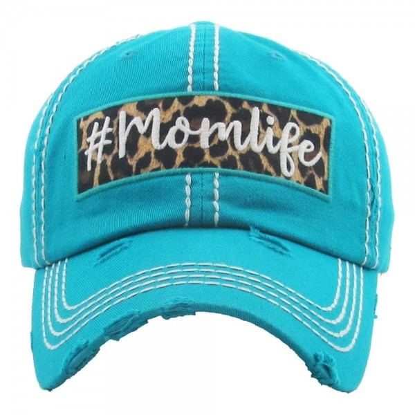"""Vintage, distressed baseball cap featuring """"#Momlife"""" leopard print embroidered detail.  - One size fits most  - Adjustable velcro closure - 100% Cotton"""