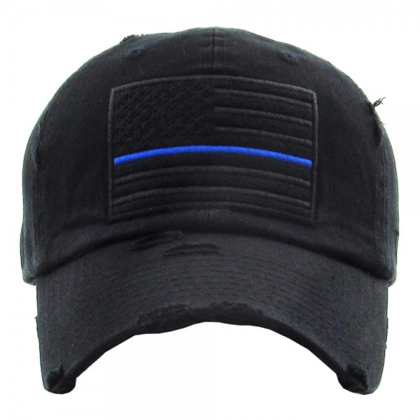 "Vintage Distressed Baseball Cap Featuring ""Thin Blue Line"" American Flag Embroidered Detail.  - One size fits most - Adjustable back strap - 100% Cotton"