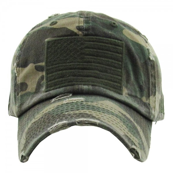 Distressed Camouflage American Flag Embroidered Baseball Cap.  - One size fits most - Adjustable back strap - 100% Cotton
